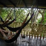 Upstairs deck with hammocks