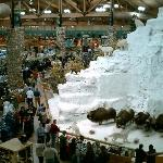 Dioramas, like this snowy mountain, dominate the store interior.