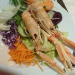 My salad atarter with fresh scampi and prawns