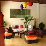 The chic lobby enhanced by colourful silk lanterns