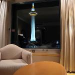 Sitting area of our room with the Kyoto Tower in the background
