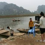 Boats to Kenh Ga Hot Spring in Ninh Binh