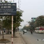 Street and notice board to Ninh Binh Train Station
