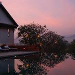 The infinity pool at sunset