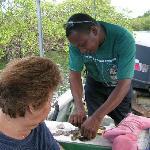 Luis preparing fresh oysters