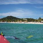 Kayaking and Snorkeling, looking back at the resort and beach
