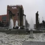 Fountain across from hotel
