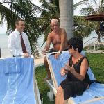 Me and Ulla chatting with the hotel manager Mr. Marcel beside the Royal Wing Pool