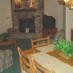 Fieldstone fireplace in the living room/ dining room