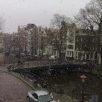 It was snowing on monday moring - view from the room