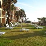 Grassy area for lounging is oceanfront