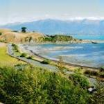 Kaikoura panorama with B&B arrowed.