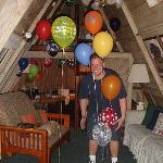 View of the room, balloons and Jason