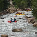 you can see people white water rafting in Animas River along train ride