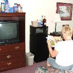 Desk, Refrigerator, Microwave and TV
