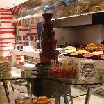 Chocolate fountain at breakfast