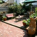 The relaxing patio with koi pond