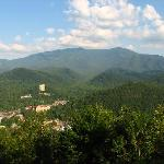 View of Gatlinburg and Mt LeConte from Balcony