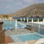 Pools with taverna (closed) at the back. Notice the large pool.