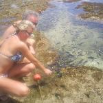 Dandole de comer a los peces en las piscinas naturales