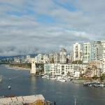 Looking across False Creek to Burrard Bridge from Granville Island