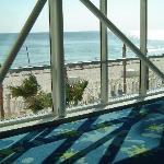 One of the lobby walkways viewing the beach