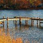 The dock at Woodlawn Farm in fall