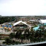 View of Schlitterbahn from 8th floor at Moody Gardens Hotel