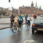 Danish bicyclists in blue bike lane in December (Copenhagen)