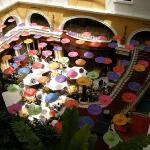 The atrium decorated for a food festival