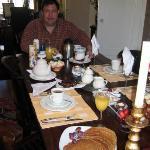 Peter serving his Dutch Pancake breakfast (bacon, banana, yoghurt, stroop)