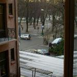 View of the Slottsparken (in winter) from our room window