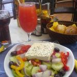 Vesta bar Greek salad and fruit cocktail
