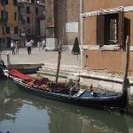 A waiting gondola adjacent 1 min from the hotel and next to Frari