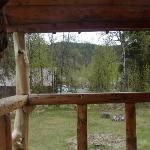 View out front window of cabin