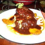 Chicken mole, cilantro rice, plaintain