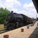 Steam train loading at the station