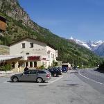view of hotel from parking lot towards Visp from Zermatt direction
