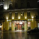 Exterior of the hotel at night