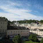View from our room at the Hotel Bristol with Mozart House across the square