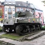 Tank in McAuliffe Square, about 2 blocks away
