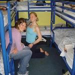 3 stacks (bunk beds) of 2's... 6 ladies in one room with one bathroom!
