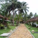 Walkway among bungalows