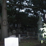 There are 2 figures in this picture.  Look near the cross headstone.