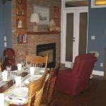 Breakfast room and fireplace