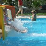 pool slides - don't sit in front!