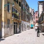 Salizzado San Samuele, as you approach the hotel from the Grand Canal.  (Hotel in middle of...