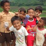 Kids in hillside village
