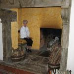 In the fireplace