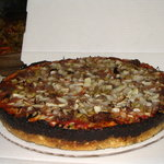 The Sausage and Onion Pizza with Burnt Cheese Caramelized Crust!